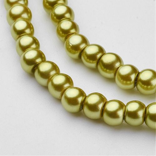 Glass Pearl Beads Yellow Green 4mm